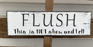 Rustic Wood Sign FLUSH Bathroom Sign Bath Farmhouse Home Decor Poop Shelf Sitter