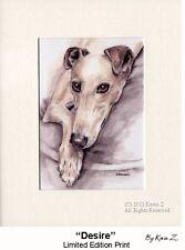 Fawn Greyhound Whippet Desire Signed Art Print Artist Kevin Z Arttogo New