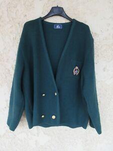 Gilet SAINT-JAMES vert made in France laine WOOLMARK femme taille 6 48