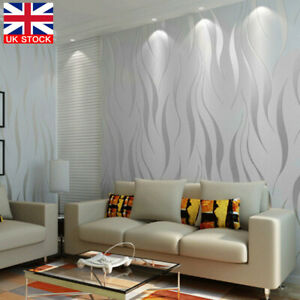 Modern 3D Crescent Wave Stripes Embossed Non-woven Flocking Wallpaper Grey New
