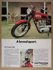 1970 Triumph Trophy 250 Motorcycle color photo vintage print Ad
