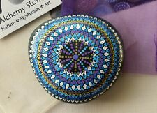 """Large Hand Painted Alchemy """"Amplification"""" Stone w. Blues, Violet, Gold & White"""