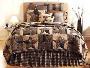 Hand Stitched Queen Country Quilt Black & Tan Strip Block Patchwork Bingham Star