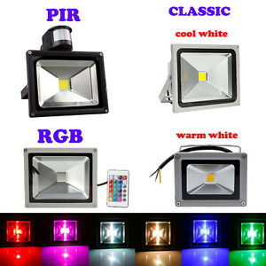 10W 20W 30W 50W PIR RGB LED Security Flood Spot Light Outdoor Warm Cool White AC