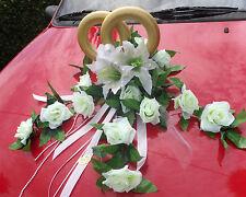 XXL 6 tlg Autoschmuck Autogirlande weiß Hochzeit  Autogesteck Brautauto NEU
