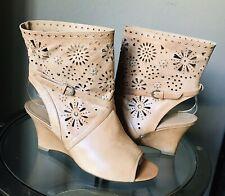 Caressa Sweetpea Tan Women's US 8.5 M Leather Open Toe Wedge Boots EUR 39 UK 6