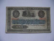 IRELAND (ÉIRE). IRISH HISTORY. 1938 ULSTER BANK £1 POUND NOTE.