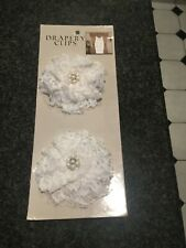 2 BRAND NEW WHITE LACE DRAPERY CLIPS