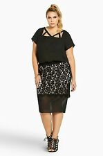 Torrid Plus Size 1 1X XL Black/Blush Pink Lace/Mesh Panel Pencil Skirt Sassy