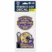 "LSU Wincraft 2019 National Championship 4"" x  8""  Perfect Cut Set of Two Decals"