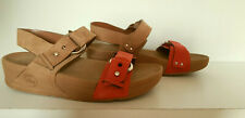 FITFLOP Tan & Coral Leather Via Bar Wedge Sandals Style: 209-017 - Size 5 UK