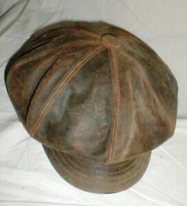 Vintage Henschel HH Newsboy Cabbie Brown Genuine Leather Hat  sz-LG