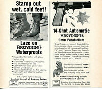 1968 2 small Print Ads Browning 14 Shot Automatic 9mm Pistol & Waterproof Boots