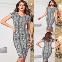 Short Cap Sleeve Round Neck Stretch Fit Bodycon Midi Pencil Casual Party Dress