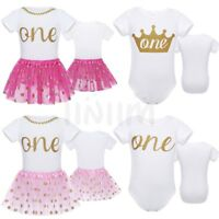 Baby Girls 1st Birthday One Year Party Romper Bodysuits Tutu Skirt Dress Outfits