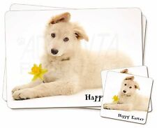 'Happy Easter' White German Shep Twin 2x Placemats+2x Coasters Set , AD-GS5DA1PC