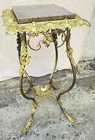 Angel / Cherub Victorian Gilt Brass & Iron Plant Fern Stand Table Pedistal 1894
