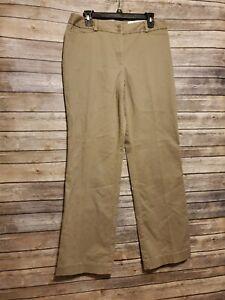 ANN TAYLOR LOFT Curvy Fit Beige Stretch Flare Leg Chino Pants Size 8 (32x30.5)