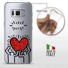 Galaxy S8 TPU CASE COVER GEL PROTETTIVA TRASPARENTE KEITH HARING Glitter Heart