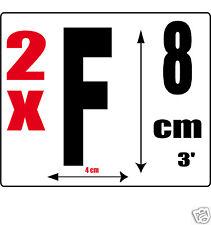 lot 2 lettres [F] Sticker autocollant noir hauteur 8cm Lettre adhésive en vinyle