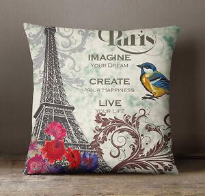 S4Sassy Decorative Paris Theme Print Square Multicolor Pillow Cover Throw