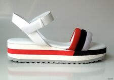 new FURLA red blue suede white leather ankle strap small wedge sandal shoes 38 8