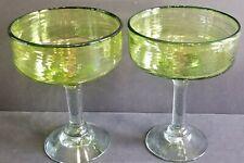 Emerald Green Swirl 2 large Margarita glasses Mexican Glassware Cinco De Mayo A