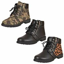Ladies Lace up Ankle Boots Combat Hiking Padded Grip Sole Work Shoes UK Size