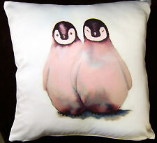 *PENGUINS* VIBRANT SATIN CUSHION COVER Designed by Artist Maria Moss 35cm x 35cm