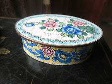 PRETTY ENAMELLED VINTAGE OVAL TRINKET BOX WITH CONTENTS FRENCH
