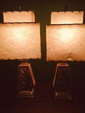 Vintage Retro Pink Gold Lamp Set Two Tier Fiberglass Shade