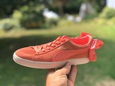 New PUMA Suede Bow Shoes Women's Shell Pink Sneaker 367317-01 Size US 6