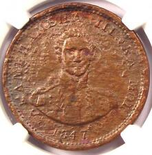 1847 Hawaii Cent 1C - NGC XF Details (EF) - Rare Certified Coin