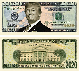 Trump ACQUITTED FOR LIFE 2020 Dollar Bill Play Funny Novelty Money + FREE SLEEVE