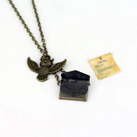 Harry Potter jewelry Owl Acceptance Letter antique bronze necklace hot AdtN