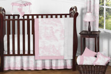 Boutique French Pink White Toile Discount Bumperless Baby Girl Crib Bedding Set