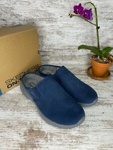 New ~ Skechers On The Go Joy Snuggly Navy Gray Slip on Clog Mule Shoes Size 8.5