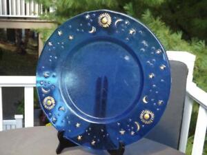 "IVV Cobalt Blue 14"" Celestial Plate Moon Stars & Sun Mid Century Modern"