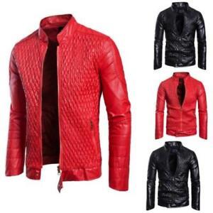 Men Faux Leather Jacket Stand Collar Coat Outdoor Biker Motorcycle Slim Casual B