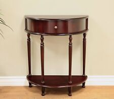 Half Moon Foyer End Table Antique Style Console Accent Round Espresso  Furniture