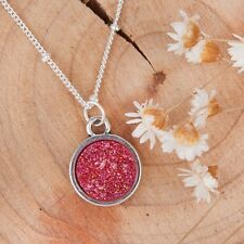 Round pendant necklace womens boho resin drusy druzy sparkle silver red pink