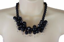 New Women Silver Metal Short Necklace Black Beads Balls Fashion Jewelry Bling