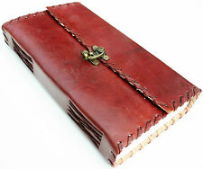 HANDMADE LEATHER STITCHED C-LOCK TRAVEL JOURNAL DIARY NOTEBOOK GREAT GIFT