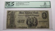 $1 1865 South Norwalk Connecticut CT National Currency Bank Note Bill #502 Ace!