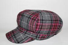 Girl's Newsboy Plaid Hat - Grey/Pink