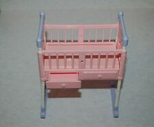 Mattel Happy Family Baby Barbie Doll Crib Rocking Pink Purple Furniture Nursery