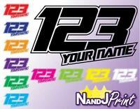 3 x Race number, name stickers decals MX motocross pit bike gloss design 2