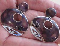 Vintage Edgar Berebi Earring Silver-Tone & Purple Enamel Abstract Dangle