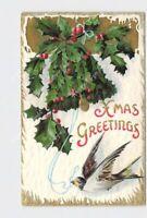 PPC POSTCARD CHRISTMAS XMAS GREETINGS HOLLY SPARROW BELL SNOW EMBOSSED