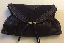 MS Martine Sitbon Paris Eggplant Leather Suede Handbag Clutch Crossbod Purse New